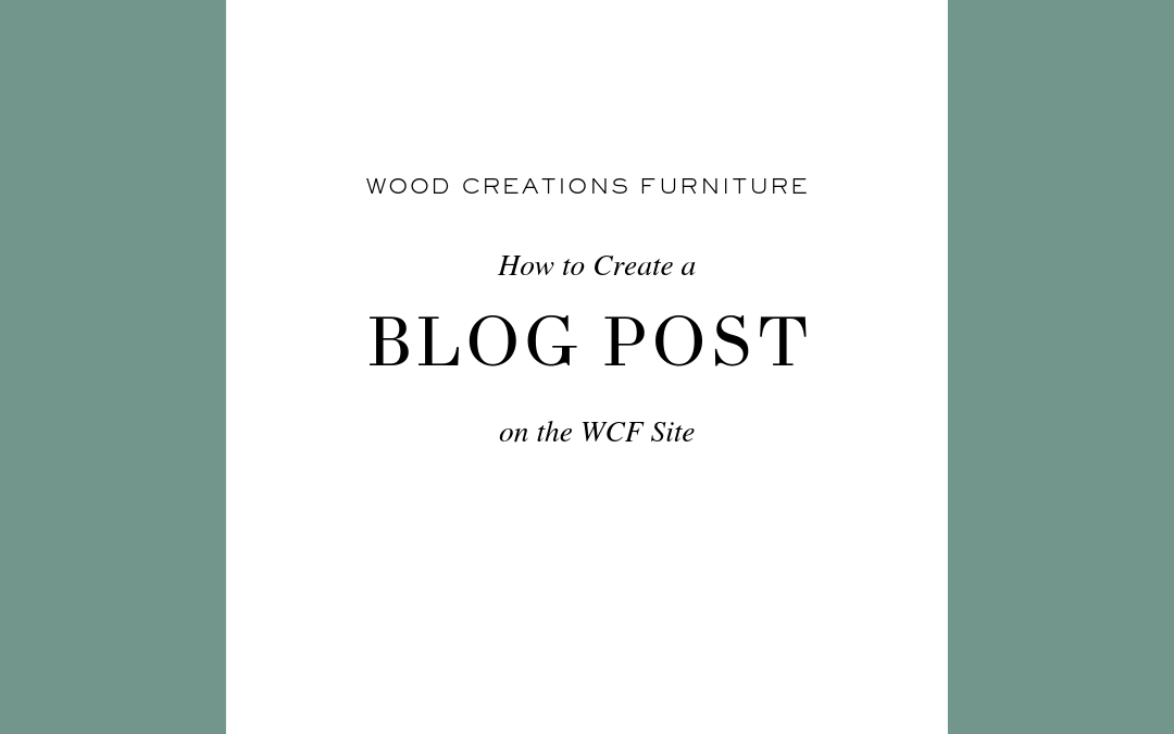 How to Create a Blog Post for WCF